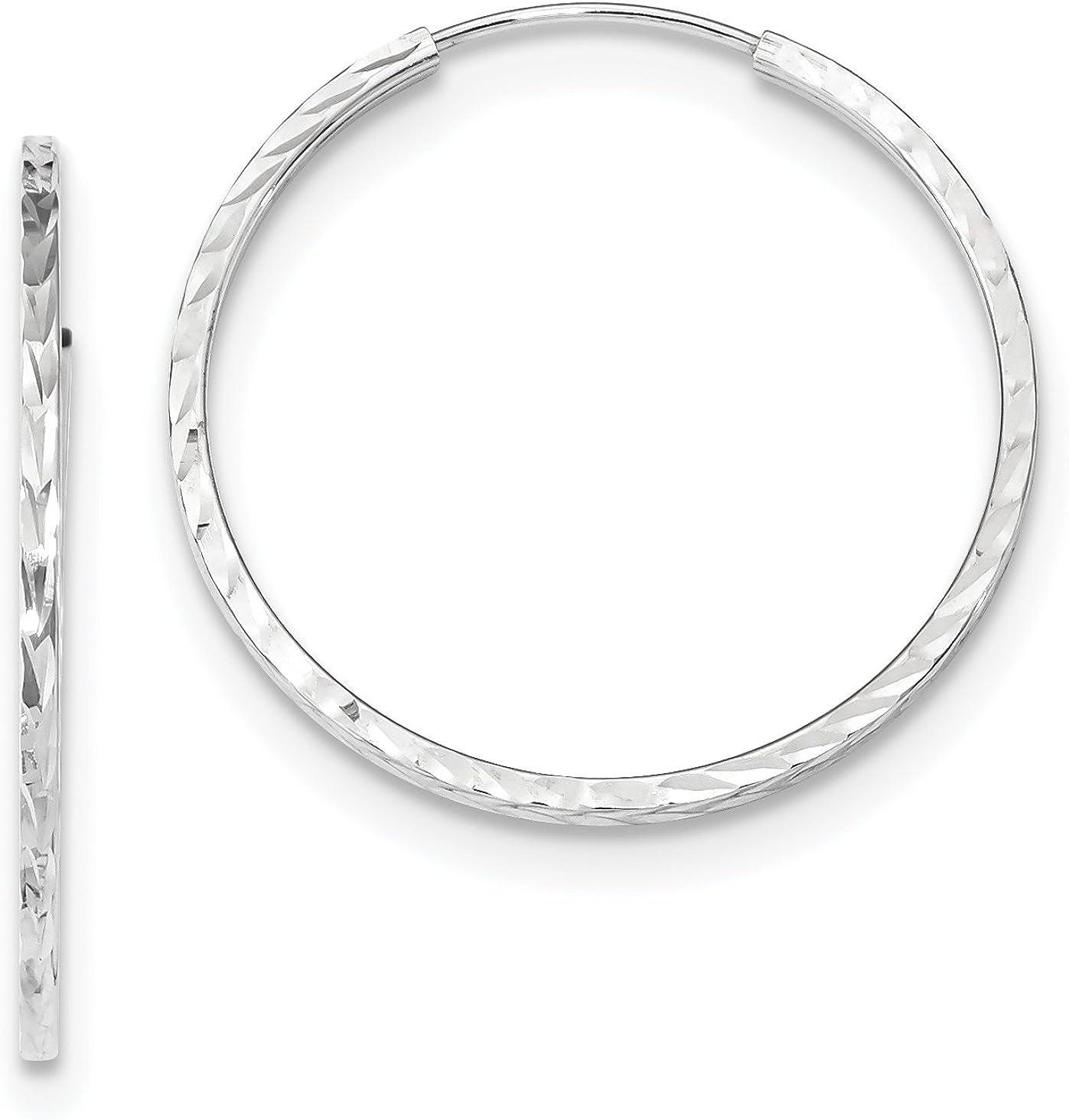 14K White Gold Polished Diamond Cut 30mm Endless Hoop Earrings