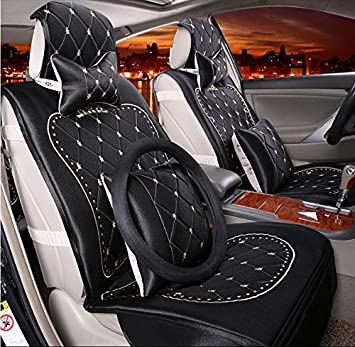 AUTOYOUTH Butterfly Embroidery Car Seat Cover Set Universal Fit Most Car  Interior Accessories Black Seat Covers