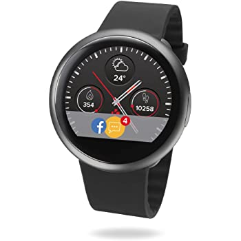 MyKronoz ZeRound2 Smartwatch with Circular Color Touchscreen and Smart Notifications, Swiss Design, iOS and Android - Black / Black