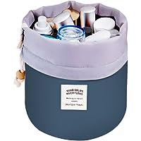 Mermaid Travel Cosmetic Bags Make up Bag Organizer Men Women Hanging Toiletry Bags Wash Bags Large Capacity Drawstring Makeup Bag Blue + Small Pouch + Clear PVC Brush Bag (blue)