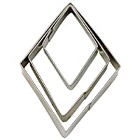 Haus 3Stück Rhombus Terrasse Cutter Set mit glatten, silber, 3/5/7cm