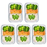 [5 Pk, 30oz] Glass Meal Prep Containers Glass 2 Compartment - Glass Food Storage Containers - Glass Storage Containers with Lids - Divided Glass Lunch Containers Food Container - Glass Food Containers