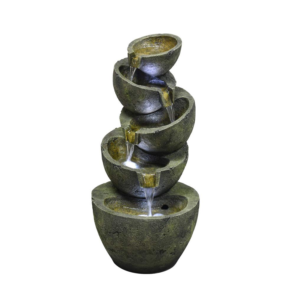 PeterIvan Tabletop Fountain - Relaxation Desktop Waterfall Fountain with LED Ball on The Top for Office, Room Decoration, Portable Decorative Indoor Fountain, 8inch (black, 8inch)