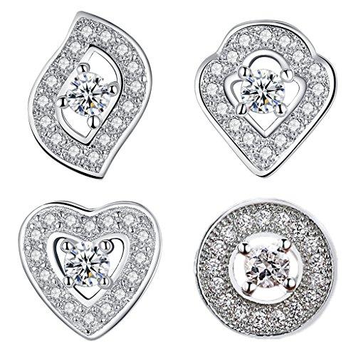 Wiw 925 Sterling Silver Cubic Zirconia Bridal Halo Stud