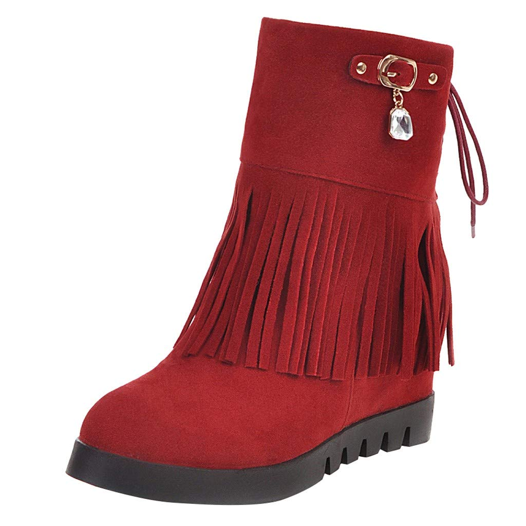 POPNINGKS Women's Tassel Bootie| Suede Rhinestone Tassel Wedges Lace-Up Short Boot Lace-Up Short Boot Keep Warm Shoes Red by POPNINGKS