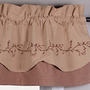 Primitive Home Decors Berry Vine Gingham Fairfield Valance - Barn Red