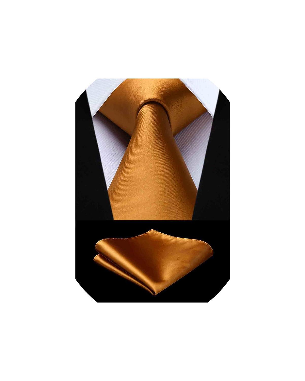Gold Tie Pocket Square Solid Necktie Handkerchief Set Men Check Plaid 8.5 cm Silk Woven Gift For Men,GD12