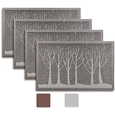 Secret Life(TM) Set of 4 Reversible Silver Grey Dining Table Fall Tree Woven Vinyl Placemats Set (4,Grey/Silver)