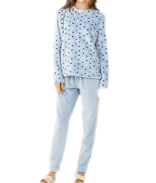 QPALZM QPALZM Pijamas De Mujer Gruesos Conjuntos De Invierno De Cuello Redondo Conjuntos Cálidos Lindos Pijamas