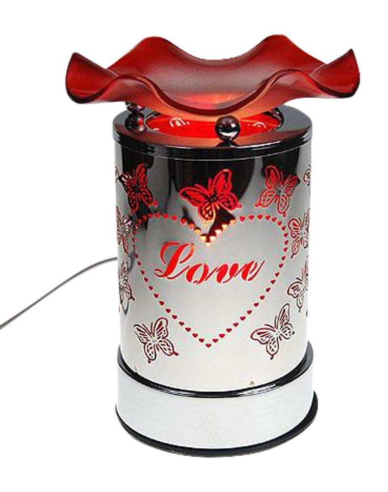 Electric Tart Burner Oil Warmer Touch Control Dimmer Love Heart Butterflies Red Design by OC (Image #1)