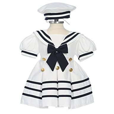 e1921730a Amazon.com  Bone Baby Girls White Navy Bow Dress Hat Sailor Outfit 3 ...