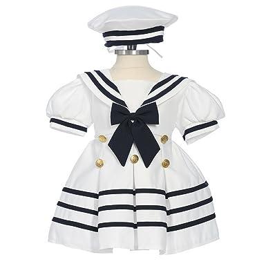 Amazon.com  Bone Baby Girls White Navy Bow Dress Hat Sailor Outfit 3 ... 2528fd4ef8c