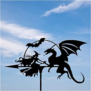 RSBCSHI Weather Vane Witch and Dragon, Stainless Steel Spray Paint Gardening Metal Crafts Ornaments, Farm Pavilion Yard Lawn Courtyard Garden Decoration