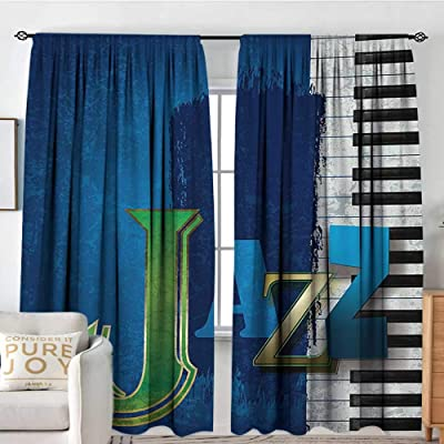 "Bedroom Blackout Curtain Panels Jazz Music,Abstract Cracked Jazz Music Background with Piano Keys Music Themed Print,Navy Green White,All Season Thermal Insulated Solid Room Drapes 54""x63"": Home & Kitchen"