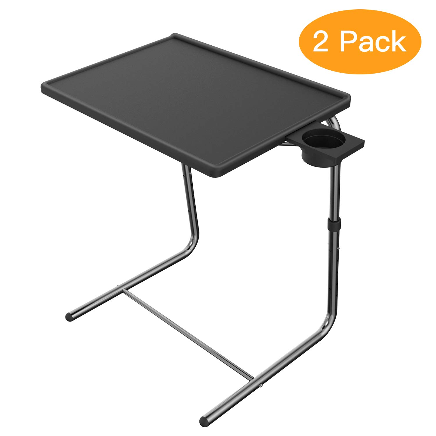 HUANUO HNTTK2-B Bed & Sofa, Laptop Table as TV Food, Work Tray with 6 Heights & 3 Tilt Angles Adjustable, Black
