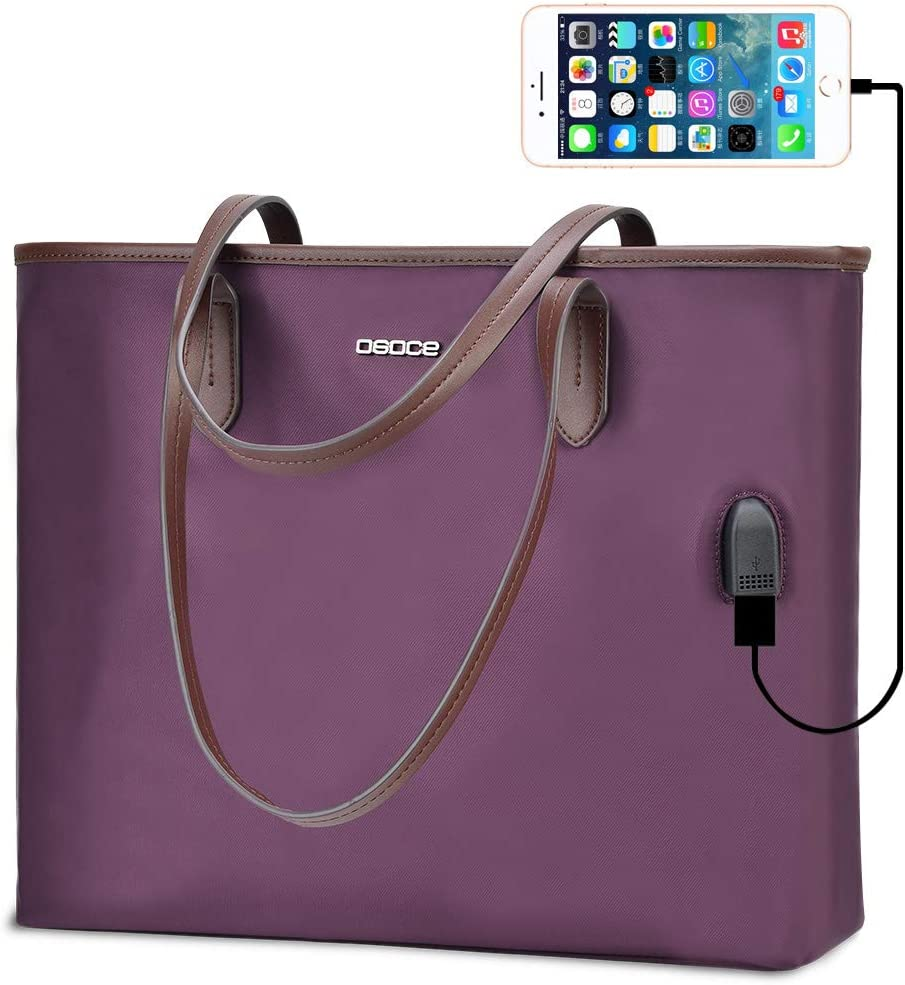 OSOCE Women Handbags Up To 15.6 '' Laptop Bag for Women, Office Bags Briefcase,Waterproof Laptop Tote Case for Women,Lightweight Tablet handbags (Purple)