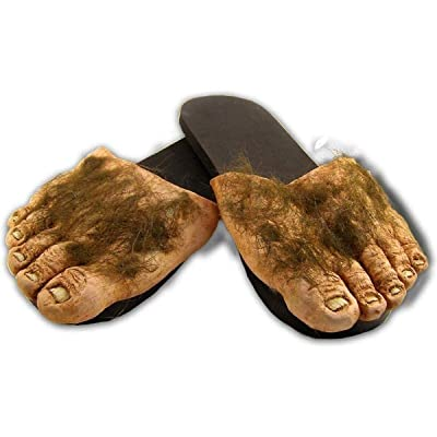 Big Hairy Feet Slippers Hobbit Big Foot Houseshoe Shire Monster Funny Shoes Brown: Clothing
