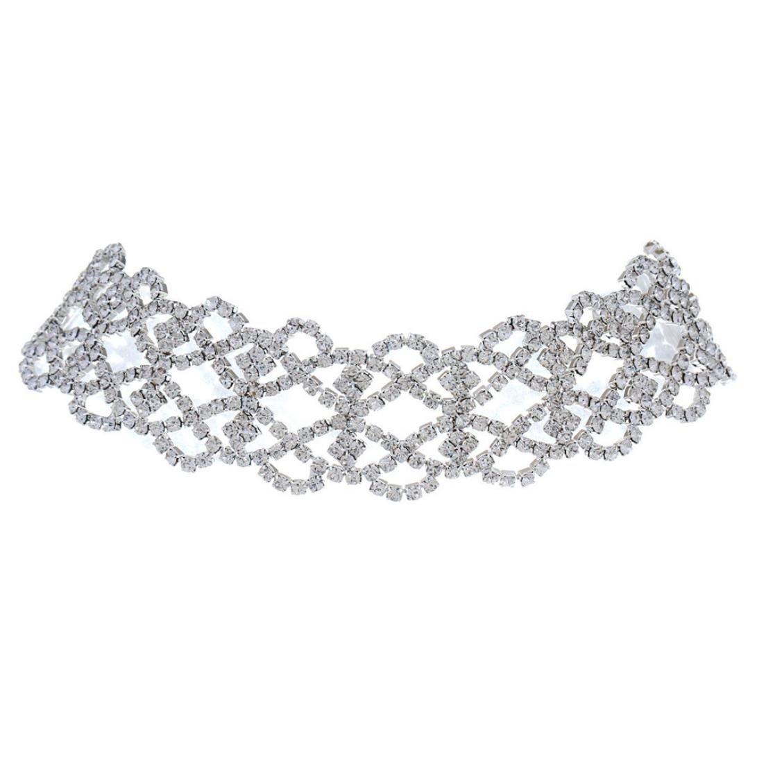 Y56 Frauen Mode Kristall Halskette Schmuck Erklärung Anhänger Charm Kette Choker Exquisite Frauen Gold Silber Halskette Mutter Geschenk (Silber)