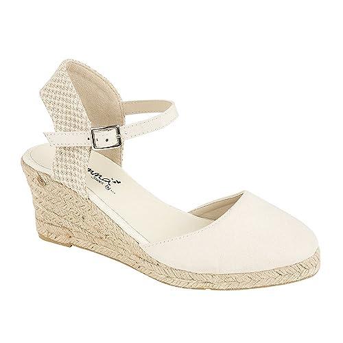 Emma - Alpargatas de cuña para mujer, diseño con cinta en el tobillo, color beige, talla Señoras 38 EU: Amazon.es: Zapatos y complementos