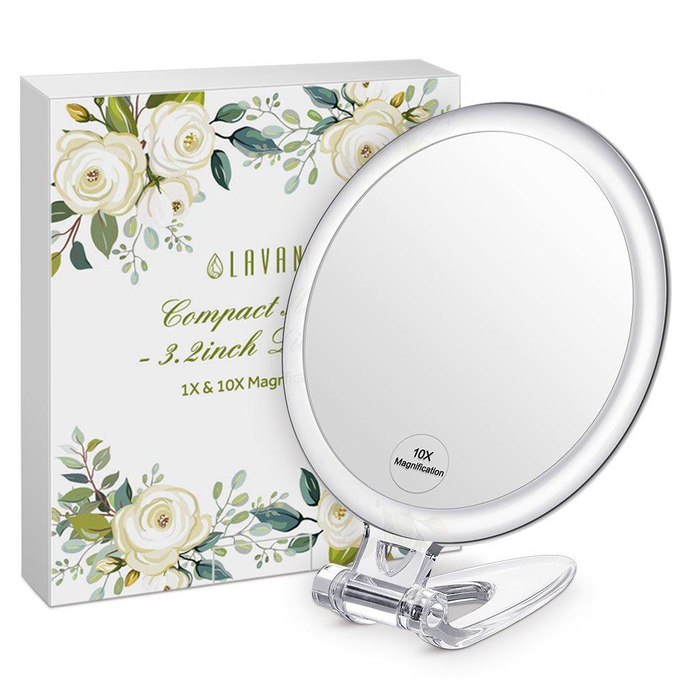 Lavany Miroir de Poche, Grossissant 10X, Double Face, Miroir à Main Compact, Diamètre 8cm, Facile à Porter