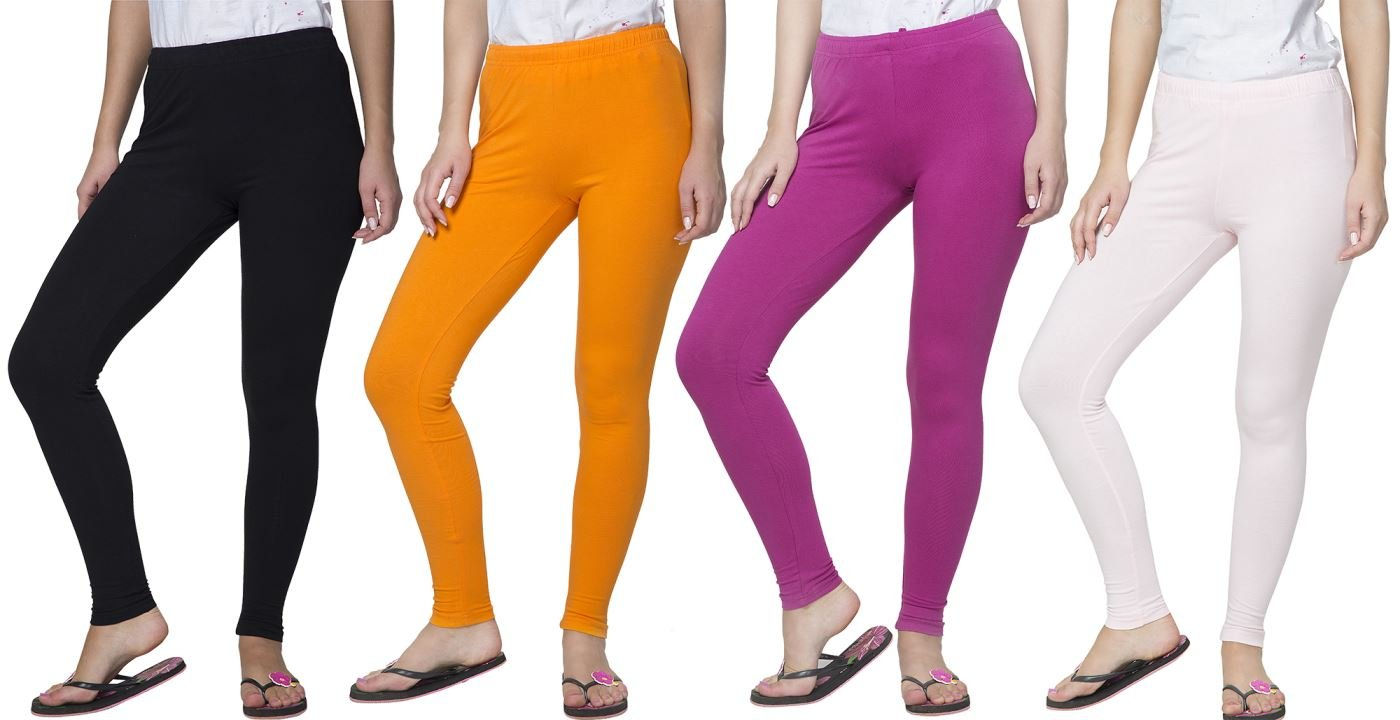Clifton Women's Cotton Spandex Fine Jersey Leggings Pack Of 4-Assorted-9-XS