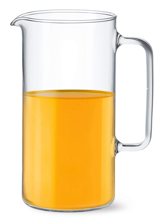 Simax Glassware Clear Glass Pitcher   For Cold Beverages, Dishwasher Safe, Cylinder Design 2 Quart Capacity