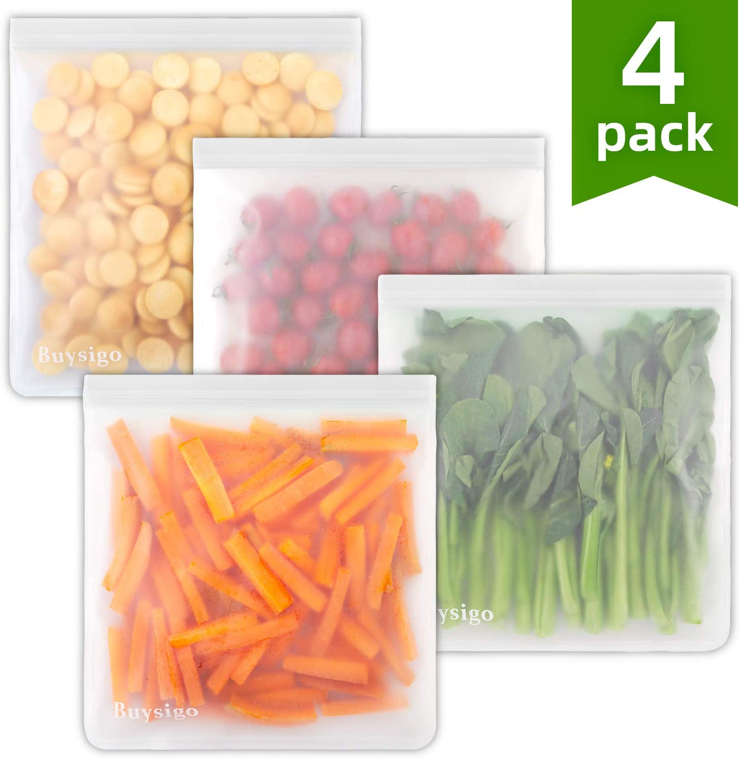 Reusable Gallon Storage Bags - 1 Gallon Leakproof Ziplock Bags for Marinate Meats, Snack,Cereal, Sandwich, Fruit, Travel Items, Meal Prep,BBQ, Home Organization(4pack)