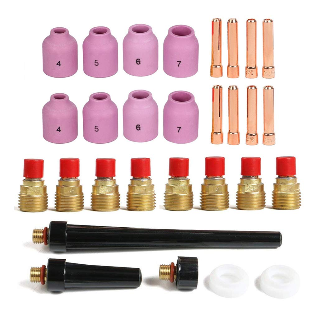 TIG Gas Lens Nozzle Collet Body Back Cap KIT Fit WP20 9 25 TIG Torch 29pcs
