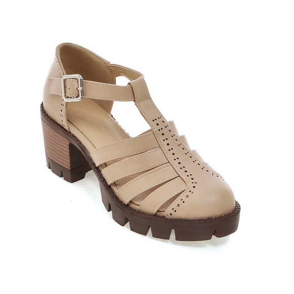 AllhqFashion Women's PU Kitten-Heels Closed Toe Solid Buckle Sandals, Apricot, 42 by AllhqFashion