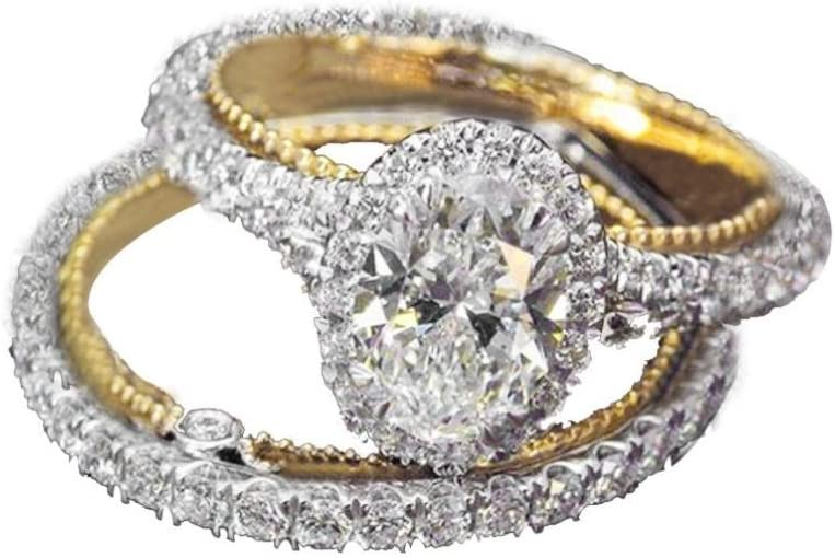 2-in-1 Lady Zirconia Ring Creative Ring Engagement Ring for Her Size 6-10 Alonea Women Rings