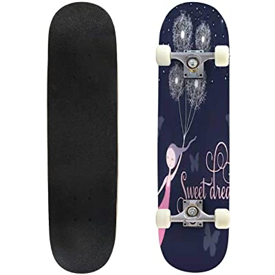 Classic Concave Skateboard Sweet Dreams Girl Vector Illustration Longboard Maple Deck Extreme Sports and Outdoors Double Kick Trick for Beginners and Professionals : Sports & Outdoors