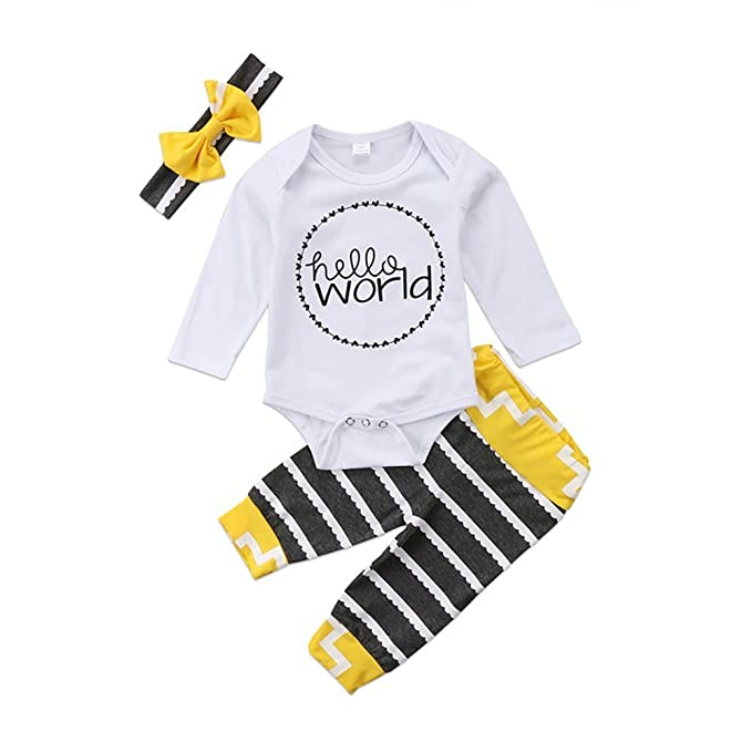 75b1d9430ca4 Amazon.com: 3Pcs Newborn Baby Girls Boys Clothes Long Sleeve Romper Tops +  Stripe Pants + Bow Headband Outfits Set: Clothing