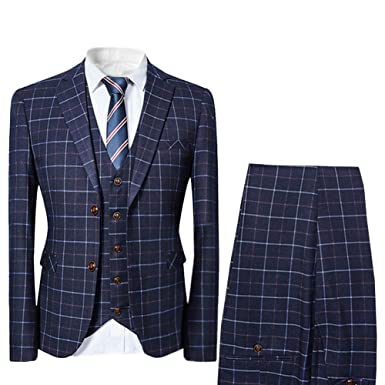 6f3d4fb33e1918 Cloudstyle Mens 3 Piece Pinstripe Slim Fit Wedding Suits Single Breasted  Smart Formal at Amazon Men's Clothing store: