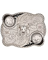 Montana Silversmiths Men's Antiqued Buffalo Nickel And Skull Buckle