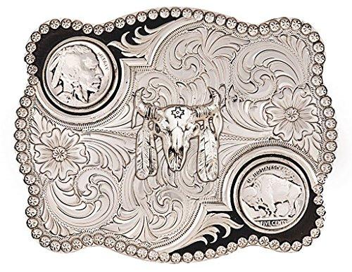 Montana Silversmiths Men's Antiqued Buffalo Nickel And Skull Buckle Silver One (Buffalo Buckle)