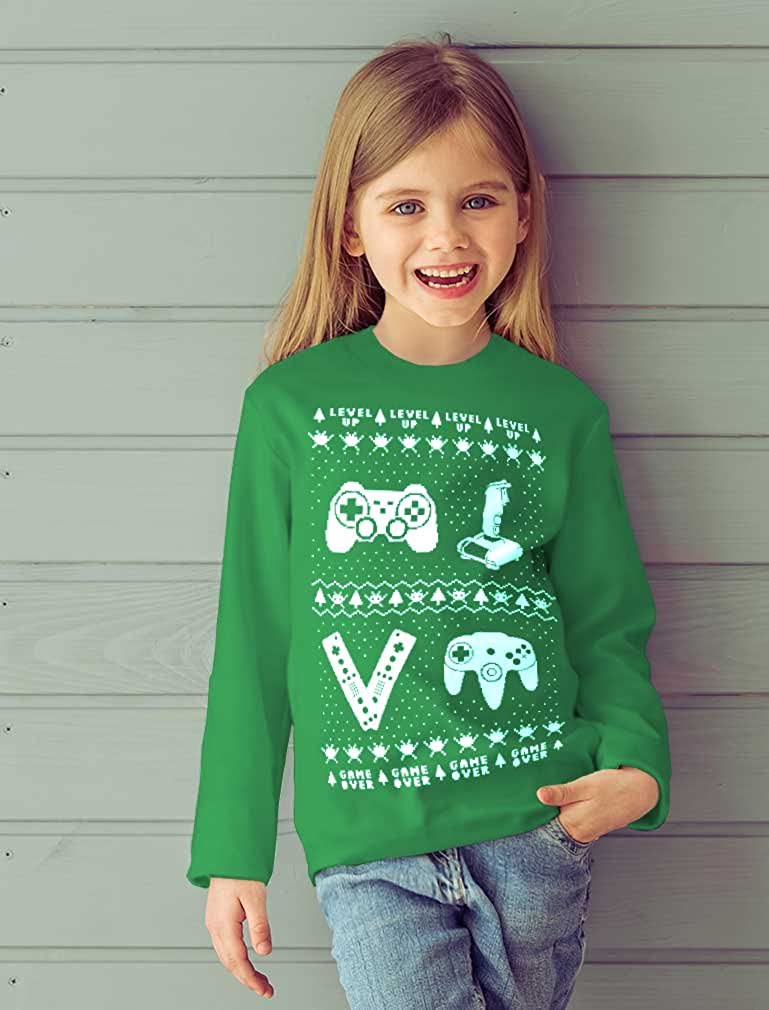 Gamer Ugly Christmas Sweater Holiday Xmas Toddler//Kids Long Sleeve T-Shirt