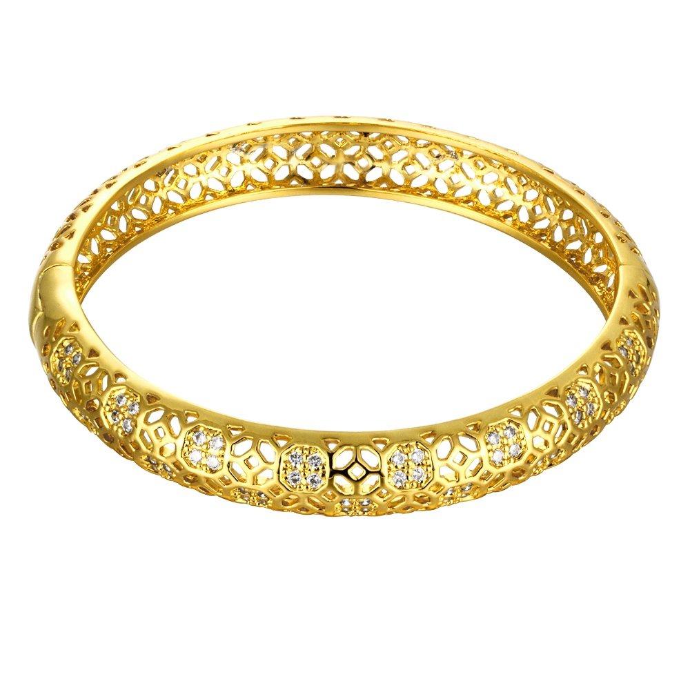 Mujer Romántica Pulsera circonitas cúbicas geometría Hollow Out Bangle 24K chapado en oro pulsera de cadena de cuerpo joyas fashionbeautybuy LKN00882