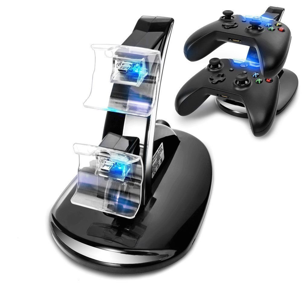 SUNKY - Xbox One LED USB Dual Controller Charger, Fast Charging Stand Dock Station for Microsoft X-BOX 1 Slim X Console - Black