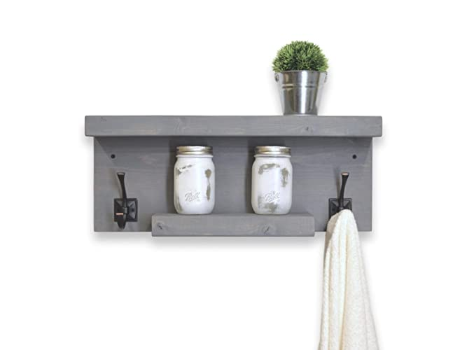 Rustic 2 Tier Bathroom Shelf with Towel Hooks left and right