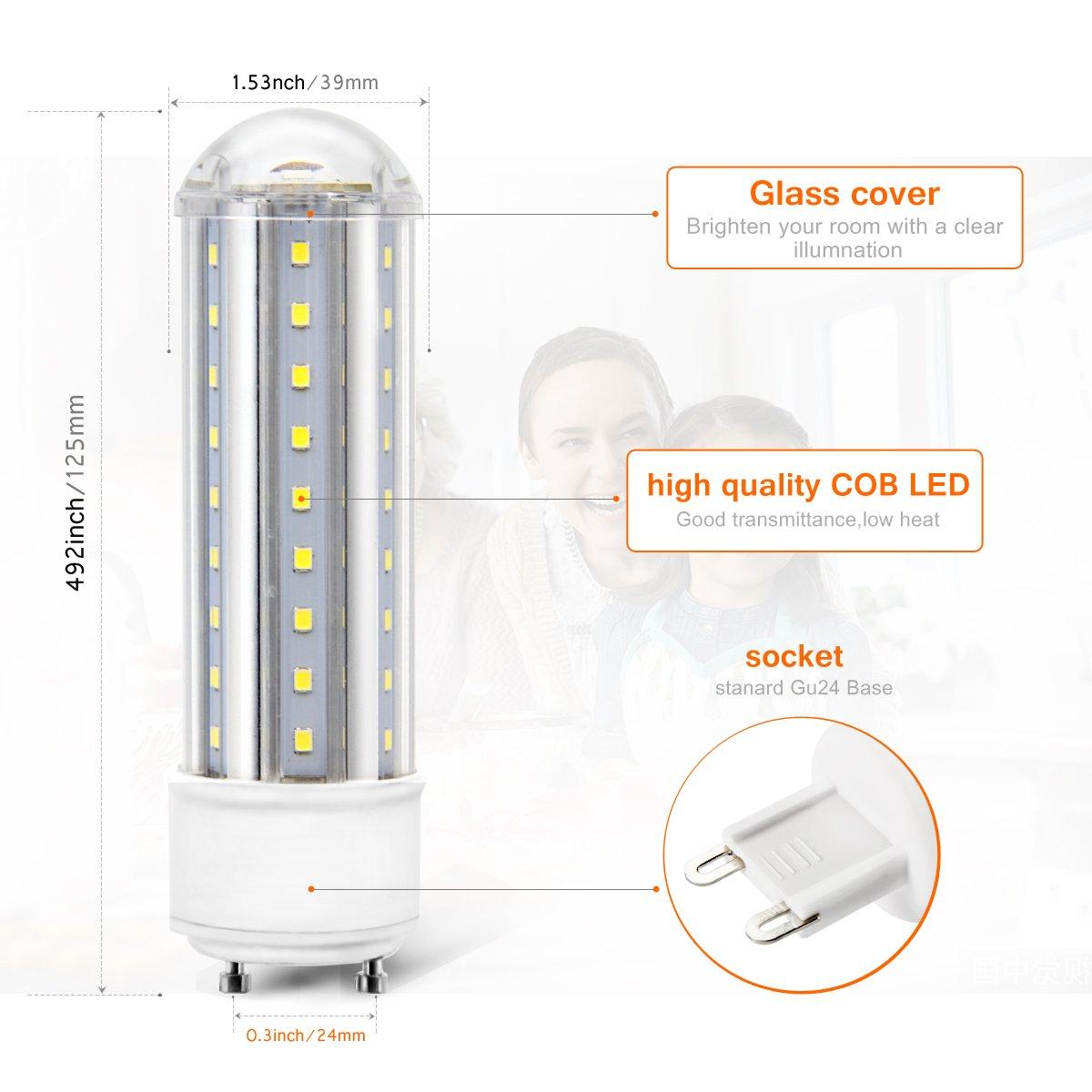 Non-Dimmable 1-Pack LanYue GU24 LED Bulb 9W Corn Light Bulb Performance Led Daylight 6000K AC 85-265V 100W Halogen Bulb