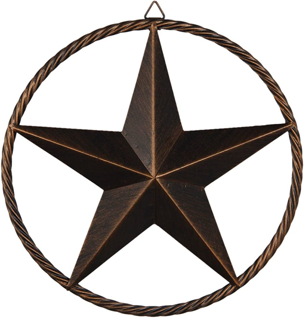 Vintage Rustic Metal Barn Star in Cast Wired Circle Dark Brown Texas Wall Decor