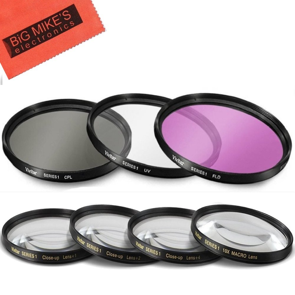 7 Piece 40.5mm Filter Set Includes 3 PC Filter Kit (UV-CPL-FLD) And 4 PC Close Up Filter Set for Sony Alpha A5000, A5100, A6000, A6300, A6500, NEX-5TL, NEX-6 Camera with Sony 16-50mm E-mount Lens by Big Mike's