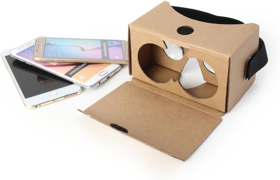 GMYLE Kit V2 Google cartón DIY, Visor de Realidad Virtual 3D Gafas cartón con Cabeza Correa para teléfonos Inteligentes de 4.4 a 5.5 Pulgadas (versión 2) (no Hay botón conductora): Amazon.es: Electrónica