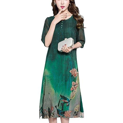 9e086c5b6c4b8 HÖTER Oriental 2018 Womens Folk Style Printed Imitated Silk Like Soft Maxi Plus  Size Dress at Amazon Women s Clothing store