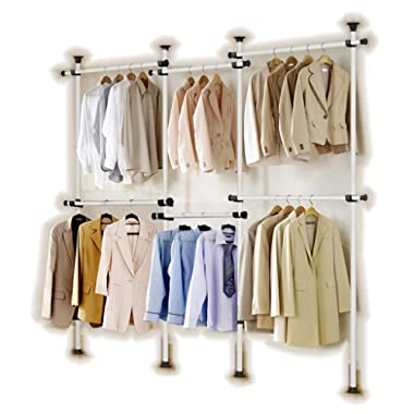 GoldCart GC522 Potable Garment Rack, Height 160-320  cm Width 140 - 300 cm Adjustable, Grey Close to White Pipe and Black Brackets