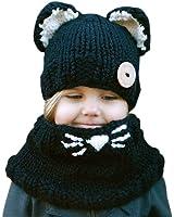 Hosaire 1X Inverno Bambino Cappelli di maglia sciarpa ricopre cappelli orecchiette di lana Cappello Inverno colore nero