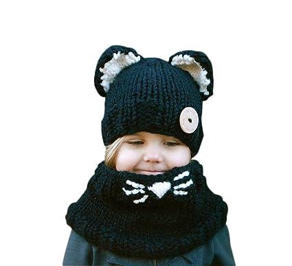 6619ad47f761 Demarkt 1 Set Unisexe Enfants Hiver Mignon Chat Tricot Chapeau Écharpe  Peluche Bonnet Cache Oreilles Hats