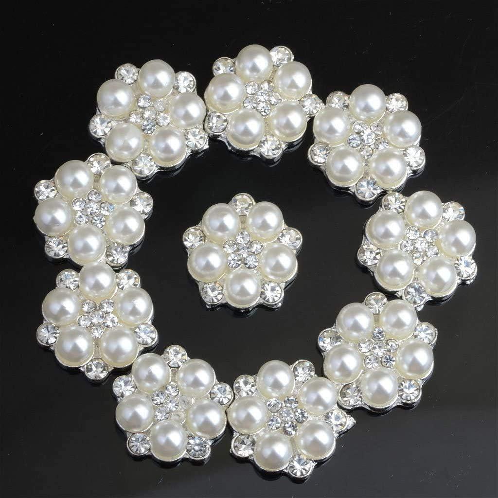 Dusenly Lot de 10 boutons r/étro en forme de perles de cristal argent/ées et strass