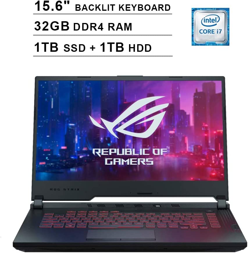 2020 Asus ROG G531GT 15.6 Inch FHD Gaming Laptop (9th Gen Intel 6-Core i7-9750H up to 4.50 GHz, 32GB DDR4 RAM, 1TB SSD + 1TB HDD, GeForce GTX 1650, RGB Backlit Keyboard, Windows 10) (Black)