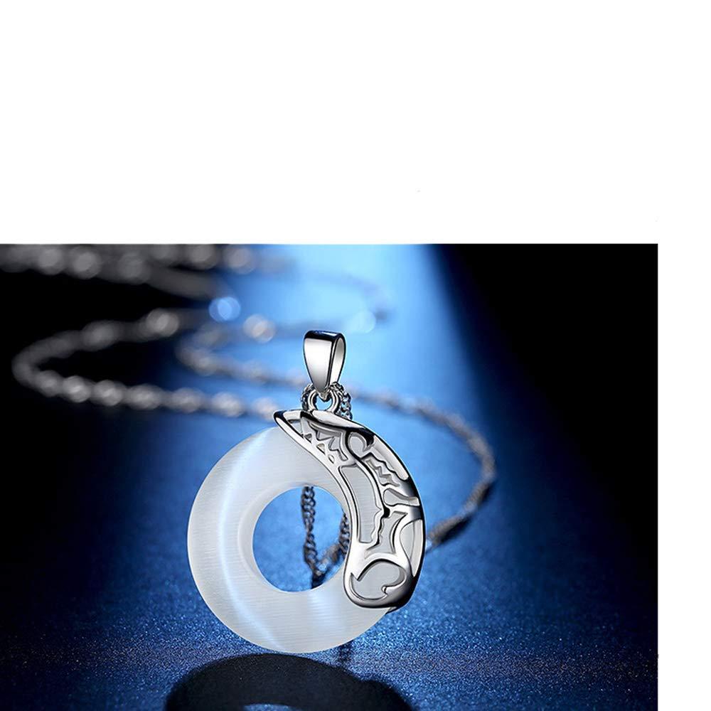 Ivy Morgan S925 Sterling Silver Necklace Female Retro Lotus Pond Moon Circle Pendant